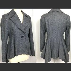 Zara Basic Gray Wool Pea Coat, Handkerchief Hem L